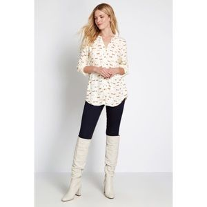 MODCLOTH Trusty Travel Button-Up Top Ivory Dog